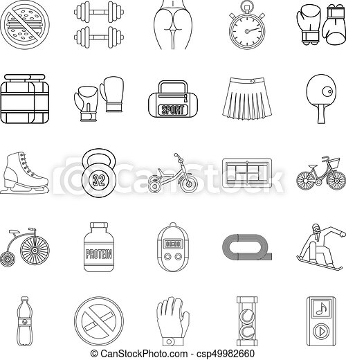 Alacrity icons set, outline style