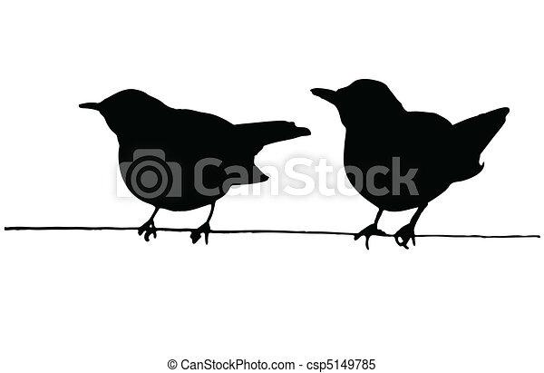Dos pájaros en el cable - csp5149785