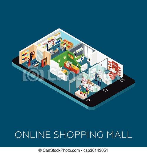 Icono del centro comercial online - csp36143051