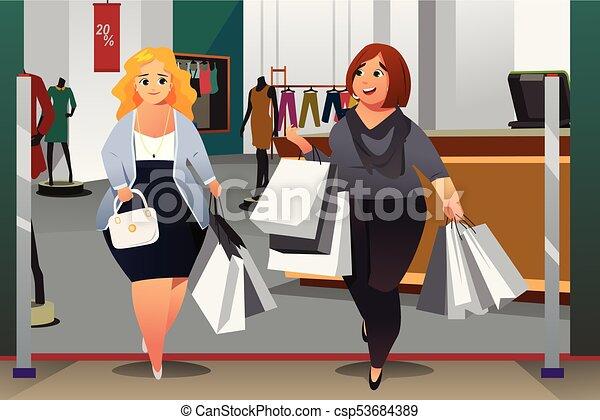 Mujeres comprando en un centro comercial - csp53684389