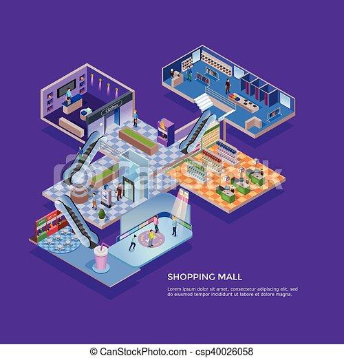 Comprando el concepto isometrico del centro comercial - csp40026058