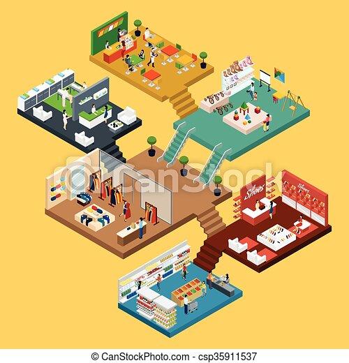 Comprando el concepto isometrico del centro comercial - csp35911537