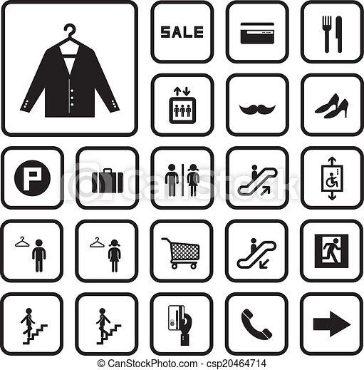 Comprando iconos del centro comercial - csp20464714
