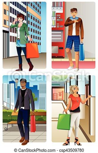 Gente yendo de compras a un centro comercial - csp43509780