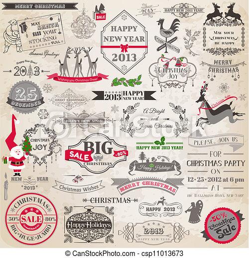 alapismeretek, dekoráció, calligraphic, vektor, tervezés, szüret, keret, karácsony, set:, oldal - csp11013673
