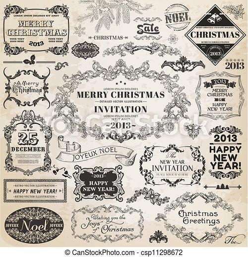 alapismeretek, dekoráció, calligraphic, vektor, tervezés, szüret, keret, karácsony, set:, oldal - csp11298672