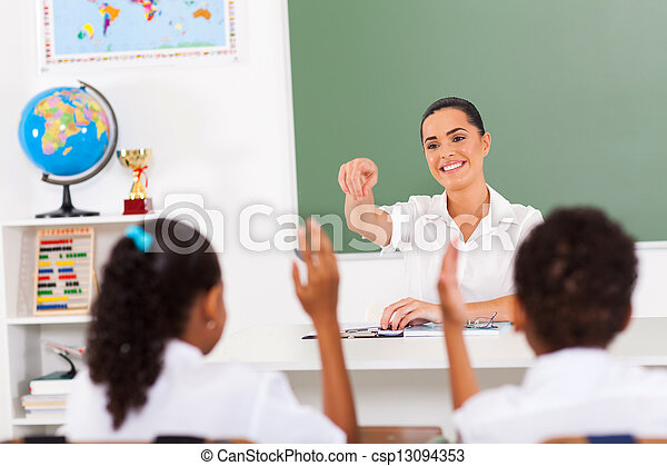alapvető, diákok, tanár, hívás - csp13094353
