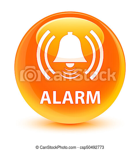 Alarm (bell icon) glassy orange round button - csp50492773