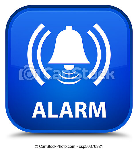 Alarm (bell icon) special blue square button - csp50378321