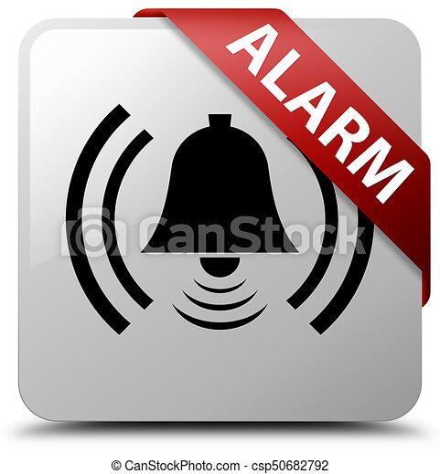 Alarm (bell icon) white square button red ribbon in corner - csp50682792