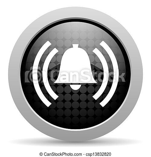 alarm black circle web glossy icon - csp13832820
