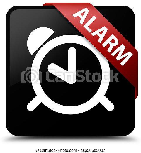Alarm black square button red ribbon in corner - csp50685007