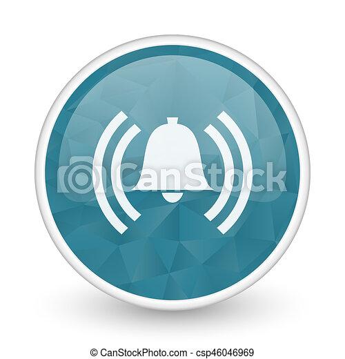 Alarm brillant crystal design round blue web icon. - csp46046969