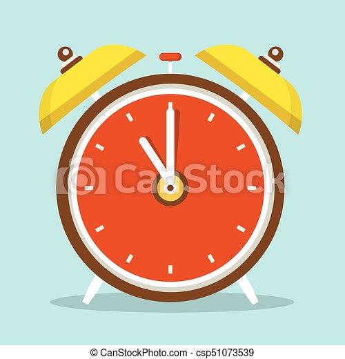Alarm Clock Flat Design Icon - csp51073539