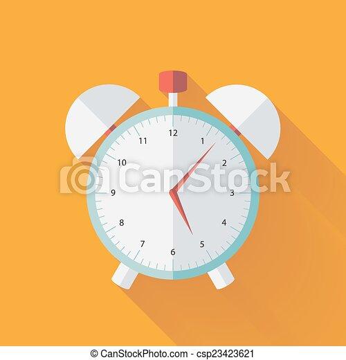 Alarm clock flat icon over yellow - csp23423621