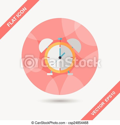 alarm clock flat icon with long shadow,eps10 - csp24854468