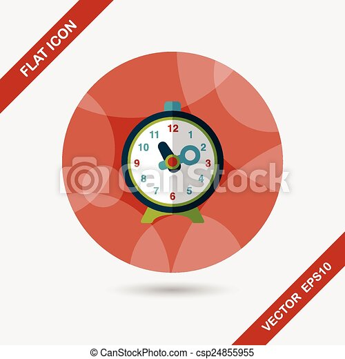alarm clock flat icon with long shadow,eps10 - csp24855955