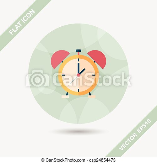 alarm clock flat icon with long shadow,eps10 - csp24854473