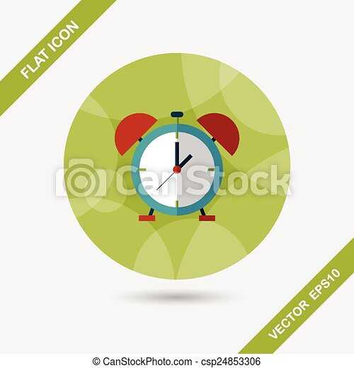 alarm clock flat icon with long shadow,eps10 - csp24853306
