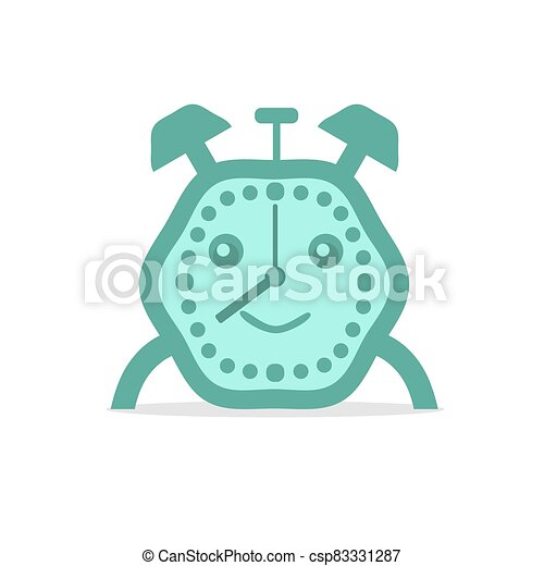 Alarm clock green color. Flat vector illustration on white baclground. - csp83331287