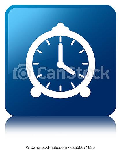 Alarm clock icon blue square button - csp50671035