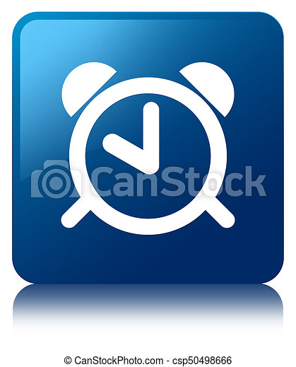 Alarm clock icon blue square button - csp50498666