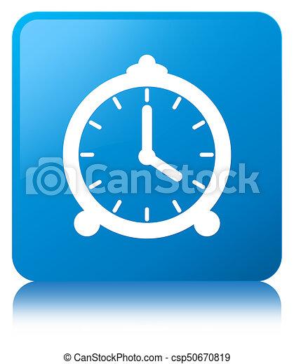 Alarm clock icon cyan blue square button - csp50670819
