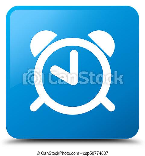 Alarm clock icon cyan blue square button - csp50774807