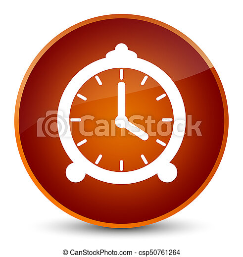 Alarm clock icon elegant brown round button - csp50761264