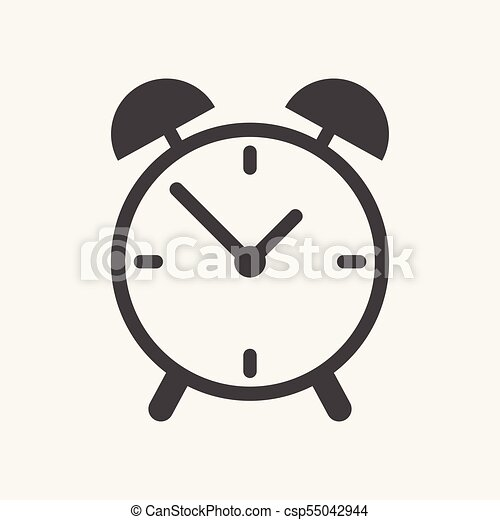 Alarm clock icon  Flat design style  Simple icon on white background  Web  site page and mobile app design element
