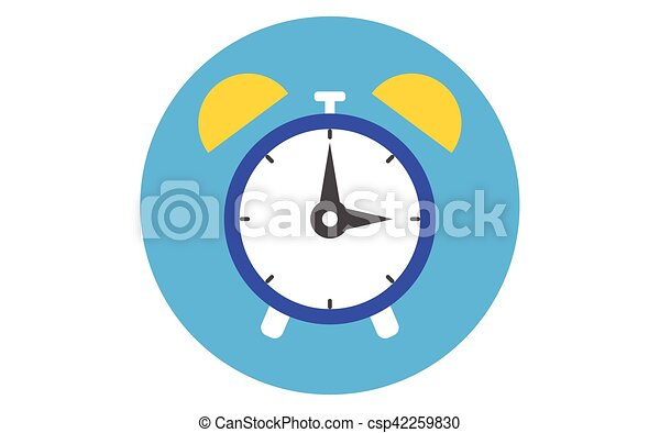 Alarm clock icon lat design style  Clock silhouette  Simple icon  Modern  flat icon in stylish colors  Web site page and mobile app design element