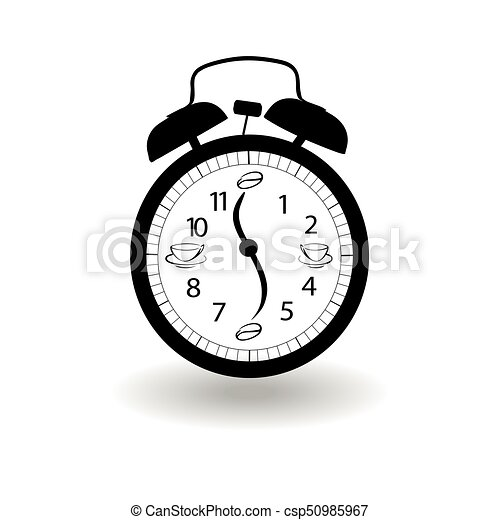 Alarm clock icon on white background. - csp50985967