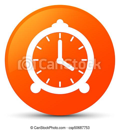 Alarm clock icon orange round button - csp50687753