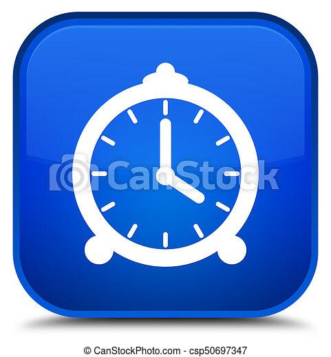 Alarm clock icon special blue square button - csp50697347