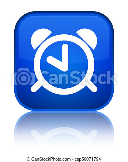 Alarm clock icon special blue square button - csp50071794