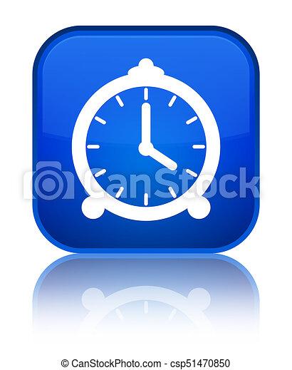 Alarm clock icon special blue square button - csp51470850