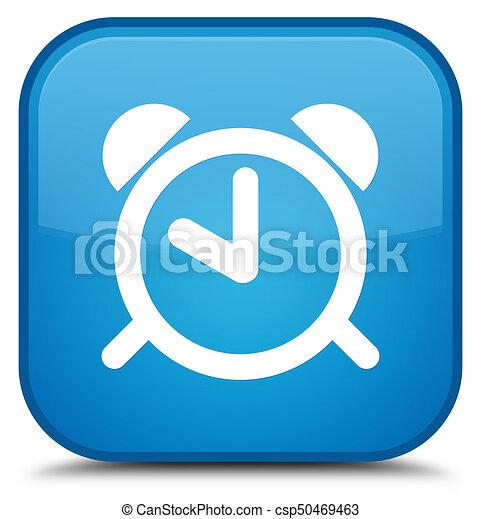 Alarm clock icon special cyan blue square button - csp50469463