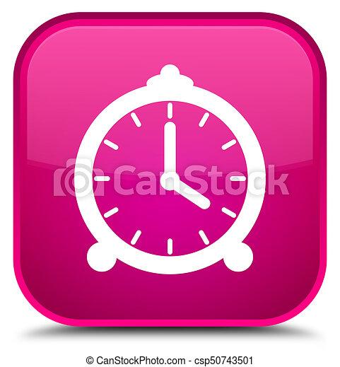 Alarm clock icon special pink square button - csp50743501