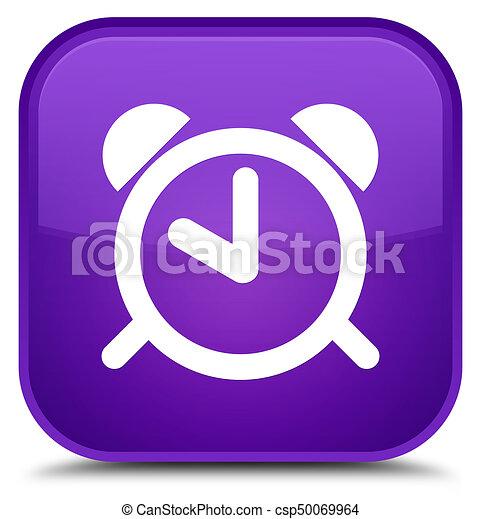 Alarm clock icon special purple square button - csp50069964