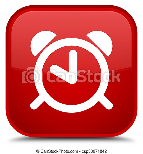 Alarm clock icon special red square button - csp50071842