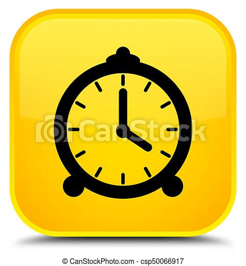 Alarm clock icon special yellow square button - csp50066917