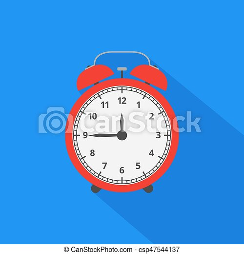Alarm clock icon with long shadow. Flat design style. Vector ill - csp47544137