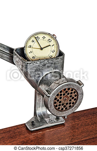 Alarm clock in manual meat grinder on white background. - csp37271856
