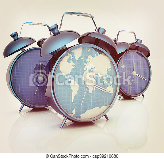 Alarm clock of world map and alarm clocks 3d illustration vintage alarm clock of world map and alarm clocks 3d illustration vintage style gumiabroncs Images