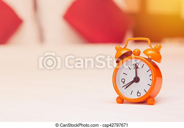 Alarm Clock On The Bed In Bedroom   Csp42797671