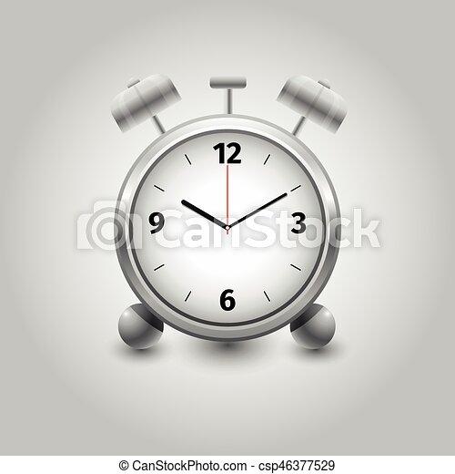 Alarm clock on white background isolated - csp46377529
