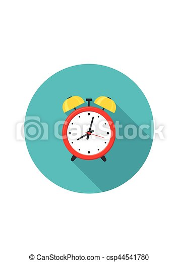 Alarm clock red icon with shadow isolated on white background in flat style. - csp44541780