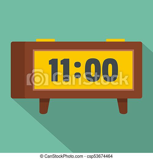 Alarm clock retro icon, flat style - csp53674464