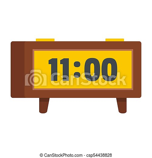 Alarm clock retro icon, flat style - csp54438828