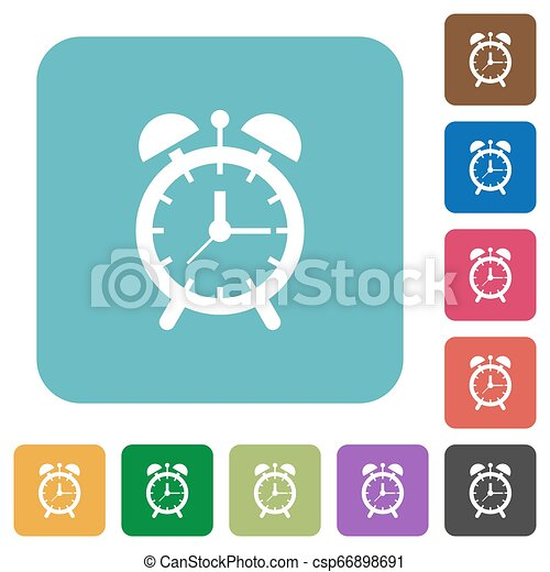 Alarm clock rounded square flat icons - csp66898691